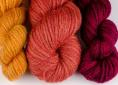 wool dyed with brazilwood/sappanwood & different amounts of chalk